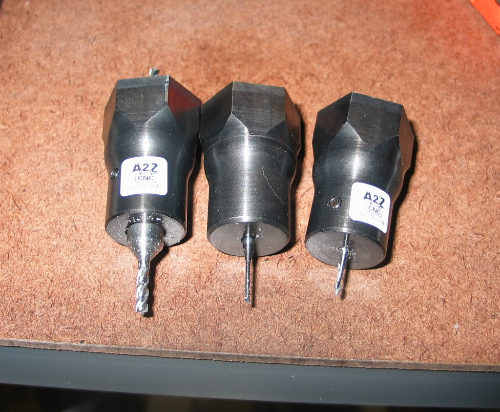 The three tools used in the program, held in A2Z endmill holders