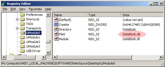 Palm Desktop 6.2 registry fix